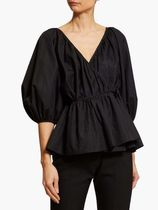 CECILIE BAHNSEN Casual Style Puffed Sleeves Street Style Plain Cotton