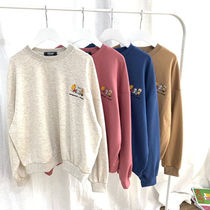 Casual Style Long Sleeves Cotton Medium V-neck & Crew neck