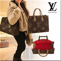 Louis Vuitton Monogram Casual Style Unisex A4 Leather Totes
