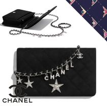 CHANEL CHAIN WALLET Chain Plain Leather Logo Metallic Accessories