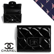 CHANEL Plain Leather Logo Metallic Accessories