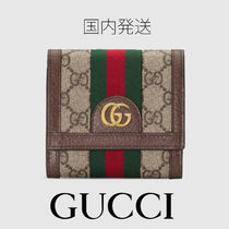 GUCCI Ophidia Canvas Leather Card Holders