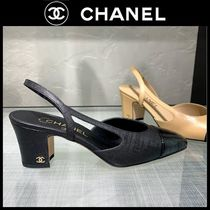 CHANEL Casual Style Plain Block Heels Party Style Home Party Ideas