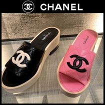 CHANEL SPORTS Open Toe Platform Casual Style Plain Party Style