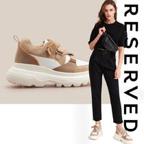 RESERVED Platform Round Toe Casual Style Suede Street Style