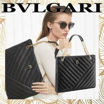 Bvlgari Casual Style A4 Chain Plain Leather Office Style