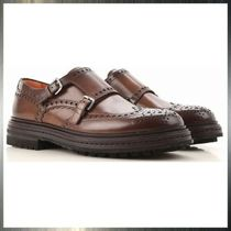 SANTONI Wing Tip Monk Leather Loafers & Slip-ons