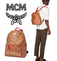 MCM Monogram Casual Style Unisex Canvas A4 Leather Logo