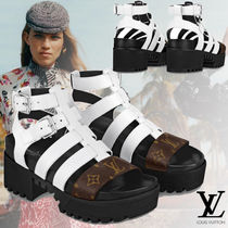 Louis Vuitton Monogram Open Toe Casual Style Blended Fabrics Street Style