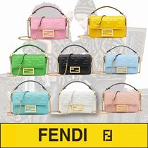 FENDI BAGUETTE Monogram Casual Style Lambskin 2WAY Chain Plain Leather