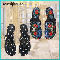 Tory Burch MILLER Flower Patterns Dots Casual Style Leather Flip Flops Logo