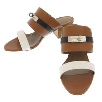 HERMES Casual Style Plain Leather Block Heels Mules Heeled Sandals