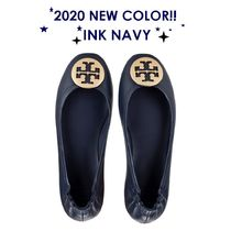 Tory Burch Plain Leather Logo Flats