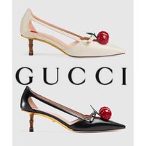 GUCCI Leather Pin Heels Party Style Elegant Style Logo