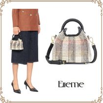 elleme Other Check Patterns Casual Style 2WAY Elegant Style Totes