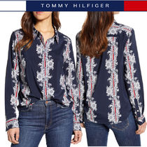 Tommy Hilfiger Stripes Flower Patterns Casual Style Long Sleeves Medium