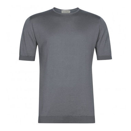 Crew Neck Unisex Plain Cotton Short Sleeves