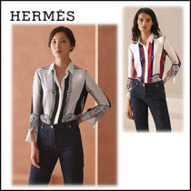 HERMES Casual Style Silk Long Sleeves Medium Party Style