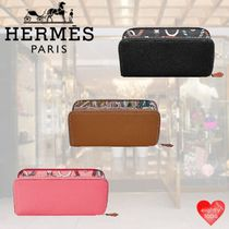 HERMES Silk In Tropical Patterns Unisex Calfskin Street Style Leather