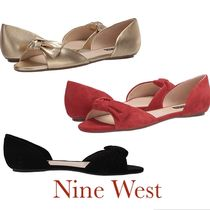 Nine West Open Toe Rubber Sole Casual Style Suede Plain Leather