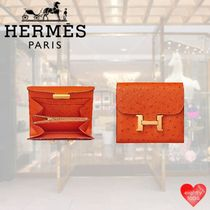 HERMES CONSTANCE Unisex Ostrich Leather Street Style Leather Small Wallet