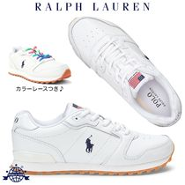 Ralph Lauren Round Toe Rubber Sole Lace-up Casual Style Plain Leather