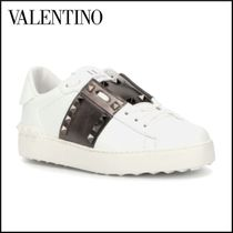 VALENTINO Plain Toe Rubber Sole Lace-up Casual Style Studded Leather