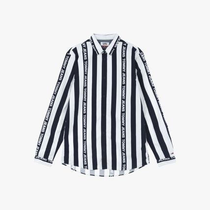 Stripes Street Style Long Sleeves Cotton Logo Shirts