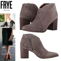 FRYE Casual Style Suede Plain Block Heels Ankle & Booties Boots