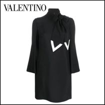 VALENTINO Short Flared Cropped Plain Party Style High-Neck