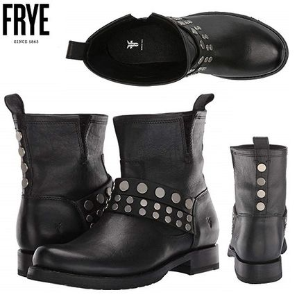 Round Toe Casual Style Studded Plain Leather Flat Boots