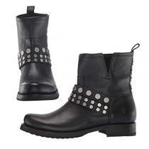 FRYE Round Toe Casual Style Studded Plain Leather Flat Boots