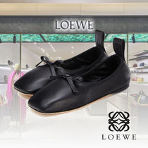 LOEWE Square Toe Casual Style Plain Leather Elegant Style Flats