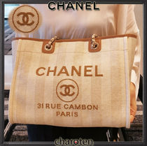 CHANEL DEAUVILLE Stripes Unisex Calfskin Canvas A4 2WAY Chain Plain Leather