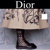 Christian Dior Plain Toe Rubber Sole Lace-up Casual Style Street Style