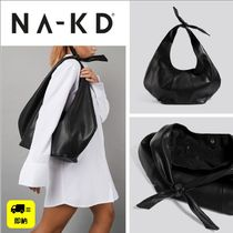 NA-KD Casual Style Faux Fur A4 Plain Office Style Totes