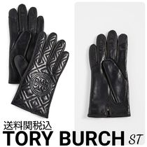 Tory Burch Cashmere Plain Leather Logo Leather & Faux Leather Gloves