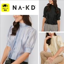 NA-KD Casual Style Cropped Plain Medium Short Sleeves Party Style