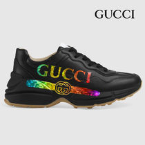 GUCCI RHYTON Unisex Leather Logo Low-Top Sneakers