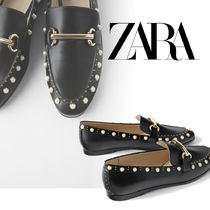 ZARA Casual Style Faux Fur Plain Loafer & Moccasin Shoes