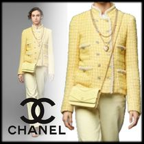 CHANEL Tweed Elegant Style Icy Color Jackets