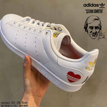 adidas STAN SMITH Stripes Heart Rubber Sole Casual Style Unisex Street Style