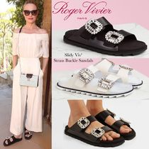 Roger Vivier Open Toe Rubber Sole Casual Style Blended Fabrics Bi-color