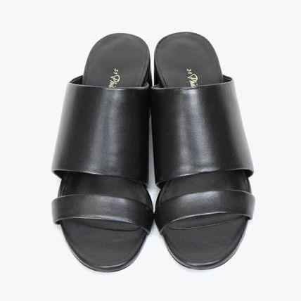 Open Toe Casual Style Leather Block Heels Party Style