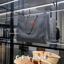 CELINE Cabas Stripes Casual Style Calfskin A4 Office Style Logo Totes