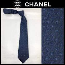 CHANEL Flower Patterns Plain Bridal Logo Ties