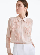 Uterque Flower Patterns Casual Style Chiffon Long Sleeves Plain