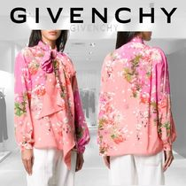 GIVENCHY Flower Patterns Casual Style Silk Long Sleeves Party Style