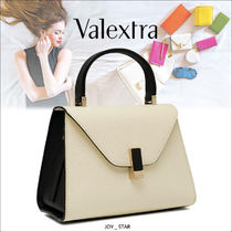 Valextra Iside Casual Style Calfskin 3WAY Plain Handmade Party Style