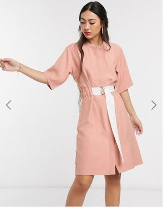 Casual Style Medium Short Sleeves Dresses